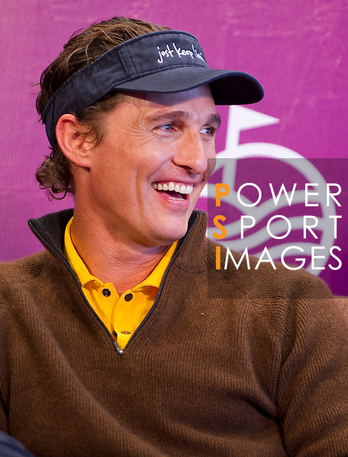 HAIKOU, CHINA - OCTOBER 28:  Hollywood actor Matthew McConaughey attends a press conference during the Mission Hills Star Trophy on October 28, 2010 in Haikou, China. The Mission Hills Star Trophy is Asia's leading leisure liflestyle event and features Hollywood celebrities and international golf stars.  Photo by Victor Fraile / The Power of Sport Images