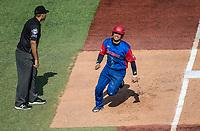 Frank Morejon del equipo los Alazanes de Gamma de Cuba corre rumbo a home en la parte alta del s&eacute;ptimo inning, durante el partido de beisbol de la Serie del Caribe contra los Criollos de Caguas de Puerto Rico en estadio de los Charros de Jalisco en Guadalajara, M&eacute;xico, Martes 6 feb 2018. <br /> (Foto: AP/Luis Gutierrez)