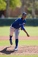 Los Angeles Dodgers pitcher Aldry Acosta (95) follows through on his delivery during an Instructional League game against the Chicago White Sox on September 30, 2017 at Camelback Ranch in Glendale, Arizona. (Zachary Lucy/Four Seam Images)