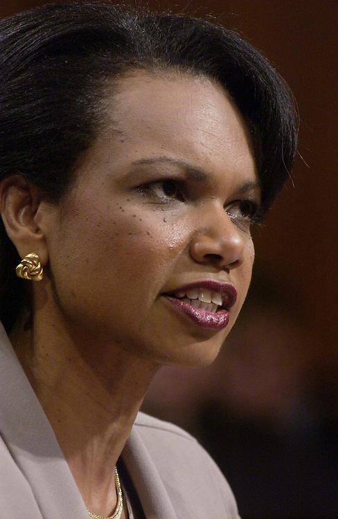"4/8/04.RICE TESTIFIES BEFORE SEPT. 11 COMMISSION--National Security Adviser Condoleezza Rice testifies before the independent commission investigating the Sept. 11, 2001, terrorist attacks, defending the White House's handling of the terrorist threat. She insisted that ""there was no silver bullet that could have prevented the 9/11 attacks."".CONGRESSIONAL QUARTERLY PHOTO BY SCOTT J. FERRELL"
