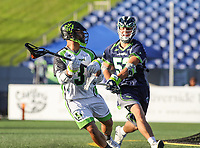 Annapolis, MD - July 7, 2018: New York Lizards Rob Pannell (3) looks to pass the ball during the game between New York Lizards and Chesapeake Bayhawks at Navy-Marine Corps Memorial Stadium in Annapolis, MD.   (Photo by Elliott Brown/Media Images International)