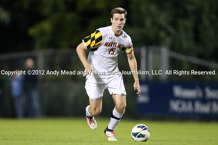 12 October 2012: Maryland's Patrick Mullins. The University of Maryland Terrapins defeated the Duke University Blue Devils 2-1 at Koskinen Stadium in Durham, North Carolina in a 2012 NCAA Division I Men's Soccer game.