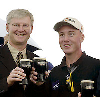 Patrik Sjoland toasts his victory in the Murphy's Irish Open at Ballybunion with Padraic Liston of Murphy's irish Stout and Minister for Tourism, Sport and Trade Dr. Jim McDaid..Picture by Don MacMonagle