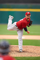 Columbus Clippers pitcher Shawn Armstrong (43) follows through on a pitch during a game against the Buffalo Bisons on July 19, 2015 at Coca-Cola Field in Buffalo, New York.  Buffalo defeated Columbus 4-3 in twelve innings.  (Mike Janes/Four Seam Images)