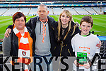 Helen O'Connor, Michael Flaherty, Elaine McCarthy and Jason Murphy Brosna supporters at the Junior Football All Ireland Club Final in Croke Park on Saturday.