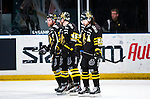 Stockholm 2014-03-21 Ishockey Kvalserien AIK - R&ouml;gle BK :  <br /> AIK:s Daniel Josefsson , AIK:s Oscar Steen och AIK:s Christian Sandberg deppar<br /> (Foto: Kenta J&ouml;nsson) Nyckelord:  depp besviken besvikelse sorg ledsen deppig nedst&auml;md uppgiven sad disappointment disappointed dejected