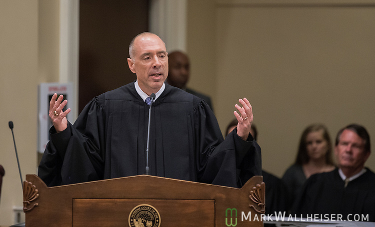 The Honorable Alan Lawson speaks after being sworn in as the 86th Justice of The Supreme Court of Florida in Tallahassee, Florida
