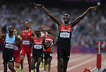 Kenya runner David Rudisha sets a new world record on London Olympics , its also new Olympic record 1:40.91<br /> 800m men's run new world record 1:40.91in the  2012 London Olympic Games on Friday, August 10th 2012, London, England. (Photo: Steve Christo