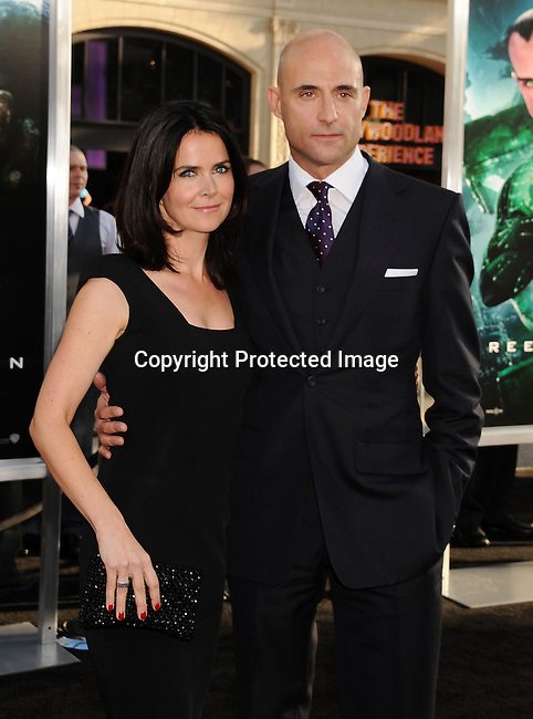 "HOLLYWOOD, {CA} -JUNE 15: Liza Marshall and Mark Strong  attend the ""Green Lantern"" Los Angeles Premiere at Grauman's Chinese Theatre on June 15, 2011 in Hollywood, California."
