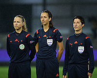 20151130 - LEUVEN ,  BELGIUM : German referee Marija Kurtes (M) with assistant referees Marina Wozniak (R) and Ines Appelmann (L)  pictured during the female soccer game between the Belgian Red Flames and Serbia , the third game in the qualification for the European Championship in The Netherlands 2017  , Monday 30 November 2015 at Stadion Den Dreef  in Leuven , Belgium. PHOTO DIRK VUYLSTEKE