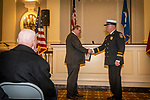 WATERBURY, CT. 20 December 2019-122019BS245 - Waterbury Mayor Neil O'Leary, left, shakes the hand of Terry Ballou, congratulating him after being sworn in as the new Waterbury Fire Chief, during the swearing in ceremony for Waterbury Fire Chief at City Hall on Friday. Terry Ballou replaces former Fire Chief David Martin, who retired earlier this year. Bill Shettle Republican-American