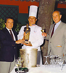 Guy Buffet, Chef Paul Bocuse and President of Champagne Perrier Jouet, Pierre Ernst, presenting Guy's &quot;Gaston&quot; award to the Chef!<br />