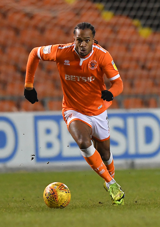 Blackpool's Nathan Delfouneso<br /> <br /> Photographer Dave Howarth/CameraSport<br /> <br /> The EFL Sky Bet League One - Blackpool v Wycombe Wanderers - Tuesday 29th January 2019 - Bloomfield Road - Blackpool<br /> <br /> World Copyright © 2019 CameraSport. All rights reserved. 43 Linden Ave. Countesthorpe. Leicester. England. LE8 5PG - Tel: +44 (0) 116 277 4147 - admin@camerasport.com - www.camerasport.com