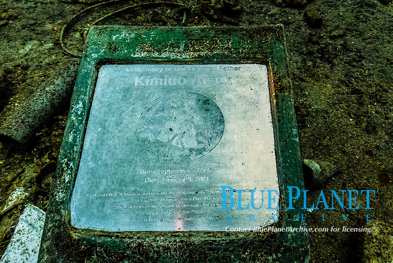 Memorial plaque on main deck, Kimiuo Aisek, Operation Hailstone, Wreck, WWII, Japanese shipwreck, Chuuk, Micronesia, Truk, Chuuk Lagoon, Pacific Ocean, Lens Corrected