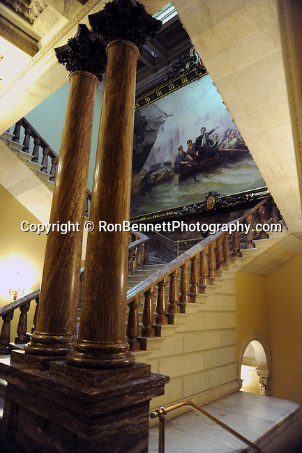United States Capitol Senate second floor steps and painting of Lake Erie Battle war of 1812, Second floor steps of United States Capitol Senate side and painting of Battle of Lake Erie sometimes called Battle of Put-in-Bay fought September 10 1813 off coast of Ohio during the war of 1812 nine vessels of the United States Navy defeated and captured six vessels of Great Britain's Royal Navy painting by William H. Powell 1865  This ensured American control of the lake for the rest of the war,