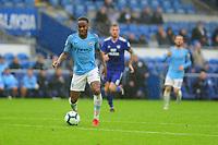 Raheem Sterling of Manchester City in action during the Premier League match between Cardiff City and Manchester City at Cardiff City Stadium on  in Cardiff, Wales, UK. Saturday 22 September 2018