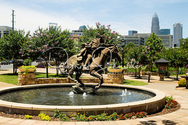 "Photography of the Captain Jack Statue ""The Spirit of Mecklenburg""  located along the Little Sugar Creek Greenway in downtown Charlotte, North Carolina.<br /> <br /> Charlotte Photographer -PatrickSchneiderPhoto.com"