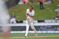 NZ's Neil Wagner celebtrates bowling England's Jofra Archer during day four of the international cricket 2nd test match between NZ Black Caps and England at Seddon Park in Hamilton, New Zealand on Friday, 22 November 2019. Photo: Dave Lintott / lintottphoto.co.nz