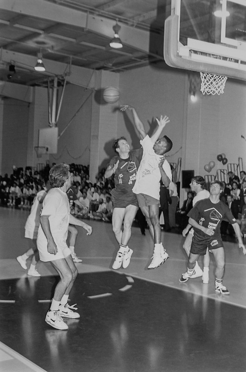 Rep. Sherrod Brown, D-Ohio, has his shot blocked moments before his backcourt embarrassment, at the Home Court Basketball Benefit, on March 22, 1994. (Photo by Chris Martin/CQ Roll Call via Getty Images)