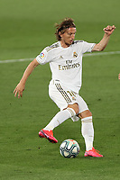 2nd July 2020, Madrid, Spain;  Real Madrids Luca Modric controls the ball on a cutback during the Spanish league football match between Real Madrid and Getafe in Madrid, Spain