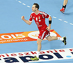 21.01.2013 Barcelona, Spain. IHF men's world championship, Eighth Final. Picture show Ivancesik  in action during game Hungary vs Poland at Palau St Jordi