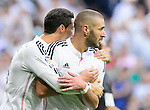 "Cristiano Ronaldo and Karim Benzema celebrates a goal during the Spanish league ""Clasico"" football match Real Madrid CF vs FC Barcelona at the Santiago Bernabeu stadium in Madrid on October 25, 2014.  PHOTOCALL3000 / DP"