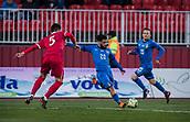 27th March 2018, Karadjorde Stadium, Novi Sad, Serbia; Under 21 International Football Friendly, Serbia U21 versus Italy U21; Forward Daniele Verde of Italy shoots on goal as defender Erhan Masovic closes in