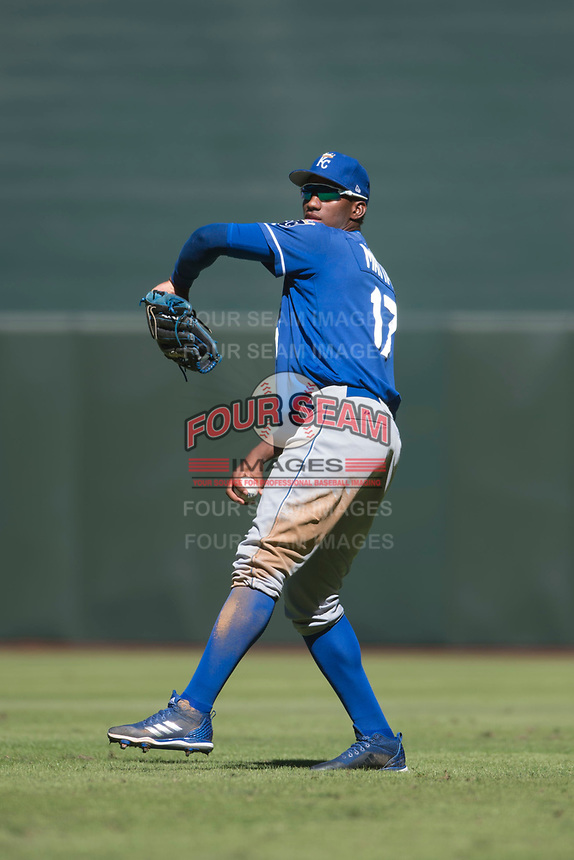 Kansas City Royals right fielder Seuly Matias (17) during an Instructional League game against the Arizona Diamondbacks at Chase Field on October 14, 2017 in Scottsdale, Arizona. (Zachary Lucy/Four Seam Images)