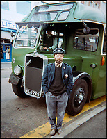 BNPS.co.uk (01202 558833)<br /> Pic: KeithBurbidge/BNPS<br /> <br /> Keith Burbidge in his conductors uniform in the 1980s.<br /> <br /> Dinky decker...<br /> <br /> A retired bus driver has taken his passion for buses to the next level - by transforming a broken mobility scooter into a quirky mini yellow bus.<br /> <br /> Keith Burbidge, 75, retired as a coach driver last year but missed the mode of public transport so much he decided to make his own miniature version.<br /> <br /> The father-of-two spent just &pound;40 and six months turning a broken scooter he picked up at auction into a working scale-model of a Yellow Bus, the company that operates in his hometown of Bournemouth, Dorset.<br /> <br /> The one-of-a-kind motor is 4ft tall and 6ft long and can only travel at speeds of about 5mph.