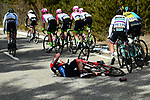 Jean Pierre Drucker (FRA) BMC Racing Team crashes during Stage 5 running 165km from Salon-de-Provence to Sisteron, France. 8th March 2018.<br /> Picture: ASO/Alex Broadway | Cyclefile<br /> <br /> <br /> All photos usage must carry mandatory copyright credit (&copy; Cyclefile | ASO/Alex Broadway)