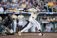Vanderbilt Commodores outfielder JJ Bleday (51) follows through on his swing against the Michigan Wolverines during Game 3 of the NCAA College World Series Finals on June 26, 2019 at TD Ameritrade Park in Omaha, Nebraska. Vanderbilt defeated Michigan 8-2 to win the National Championship. (Andrew Woolley/Four Seam Images)