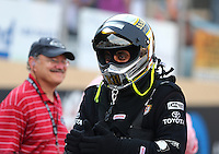Jul. 18, 2014; Morrison, CO, USA; NHRA top fuel driver Khalid Albalooshi during qualifying for the Mile High Nationals at Bandimere Speedway. Mandatory Credit: Mark J. Rebilas-