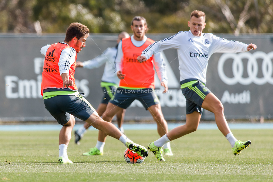 Melbourne, 16 July 2015 - Lucas Silva of Real Madrid in action during a training session at the Melbourne City Football Academy before their match against AS Roma on 18 July at the 2015 International Champions Cup in Melbourne, Australia. Photo Sydney Low/AsteriskImages.com