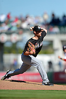 Miami Marlins pitcher James Leverton #94 during a Spring Training game against the Boston Red Sox at JetBlue Park on March 27, 2013 in Fort Myers, Florida.  Miami defeated Boston 5-1.  (Mike Janes/Four Seam Images)