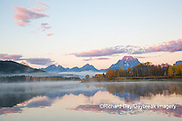 67545-09217 Sunrise at Oxbow Bend in fall; Grand Teton National Park; WY