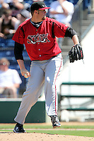 Matt Lollis #47 of the Lake Elsinore Storm pitches against the Rancho Cucamonga Quakes at The Epicenter in Rancho Cucamonga,California on April 17, 2011. Photo by Larry Goren/Four Seam Images