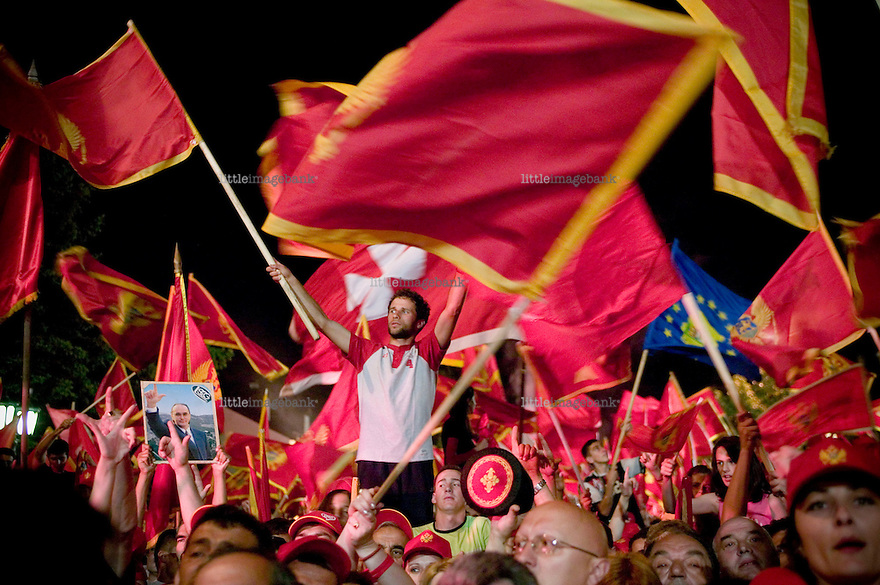A mass gathering in Cetinje to celebrate the independence. Montenegro, one of the last pieces remaining of the former Yugoslavia and Titos rule held a referendum for independence from Serbia on may 21st 2006. The Montenegrin independence referendum was a refe­rendum on the independence of the Republic of Montenegro from the State Union of Serbia and Montenegro that was held on 21 May 2006. The total turnout of the referendum was 86.5%. 55.5 percent voted in favour and 44.5 were against breaking the state union with Serbia. Fifty-five percent of affirmative votes were needed to dissolve the state union of Serbia and Montenegro, an option favored by the coalition government (DPS and SDP). By 23 May, preliminary referendum results were recognized by all five permanent members of the United Nations Security Council, indicating widespread international recognition of Montenegro once independence would be formally declared. Photo: Christopher Olssøn