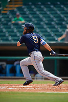 Mobile BayBears Brandon Marsh (9) hits a double during a Southern League game against the Montgomery Biscuits on May 2, 2019 at Riverwalk Stadium in Montgomery, Alabama.  Mobile defeated Montgomery 3-1.  (Mike Janes/Four Seam Images)