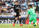 Real Sociedad's Geronimo Rulli (r) and Real Madrid's Alvaro Morata during La Liga match. August 21,2016. (ALTERPHOTOS/Acero)