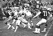 Green Bay Packers quarterback Lynn Dickey (10) looks to pass late in the fourth quarter of the game against the Washington Redskins at RFK Stadium in Washington, DC on December 2, 1979.  Dickey threw 15 straight incomplete passes in the second half as the Redskins overcame a 21 - 7 halftime deficit to beat the Packers 31 - 21.<br /> Credit: Arnie Sachs / CNP