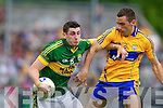 Paul Geaney, Kerry in action against Dean Ryan, Clare in the Munster Senior Championship Semi Final in Cusack Park, Ennis on Sunday.