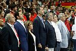 King Felipe VI of Spain (c); María Soraya Sáenz de Santamaría, Minister of the Presidency (l) and Jose Luis Saez, President of the spanis basketball federation (FEB) during basketball friendly match Spain-Argentina.August 25,2014.(ALTERPHOTOS/Acero)