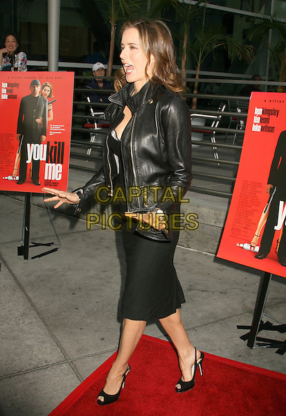 "TEA LEONI .""You Kill Me"" Los Angeles Premiere held at Arclight Cinemas, Hollywood, California, USA..Photo Credit: Russ Elliot/AdMedia .June 12th, 2007.full length dress slingback shoes dress black leather hands mouth open .CAP/ADM/RE.©Russ Elliot/AdMedia/Capital Pictures"