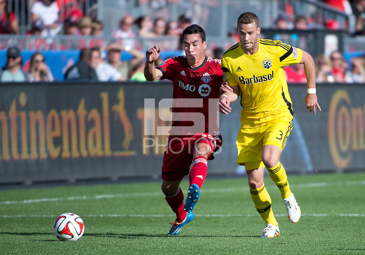 Toronto, Ontario - May 31, 2014: Toronto FC defeated the Columbus Crew 3-2 during a Major League Soccer (MLS) game at BMO Field.