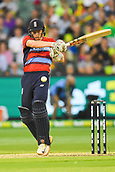 10th February 2018, Melbourne Cricket Ground, Melbourne, Australia; International Twenty20 Cricket, Australia versus England;  Sam Billings of England watches the ball come off the bat