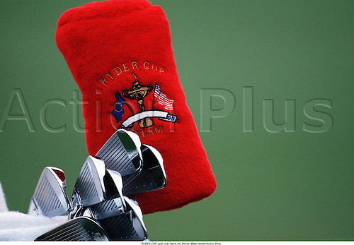 RYDER CUP, golf club ident, 93. Photo: Mike Hewitt/Action Plus...1993.  detail.sports equipment. s.  ident.golf .club clubs.closeup close up close-up.illustration