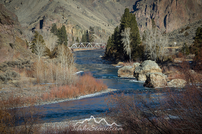 Idaho, East Central, Salmon. A bridge over the Salmon River as it enters a canyon area south of Salmon Idaho.