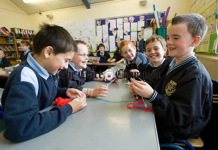 Aaron Smith, Jamie Halpin, Adam O Connor, Daithi Lohan and Jack Nolan knitting at St Aidan's School Shannon. Photograph by John Kelly.