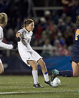 "Boston College forward Victoria DiMartino (1) shoots the ball. Boston College defeated West Virginia, 4-0, in NCAA tournament ""Sweet 16"" match at Newton Soccer Field, Newton, MA."