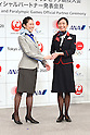(L-R) ANA, JAL, <br /> JUNE 15, 2015 : <br /> JAL and ANA has Press conference in Tokyo. <br /> JAL and ANA announced that it has entered into a partnership agreement with the Tokyo Organising Committee of the Olympic and Paralympic Games. With this agreement, JAL and ANA becomes the official partner. <br /> (Photo by AFLO SPORT)